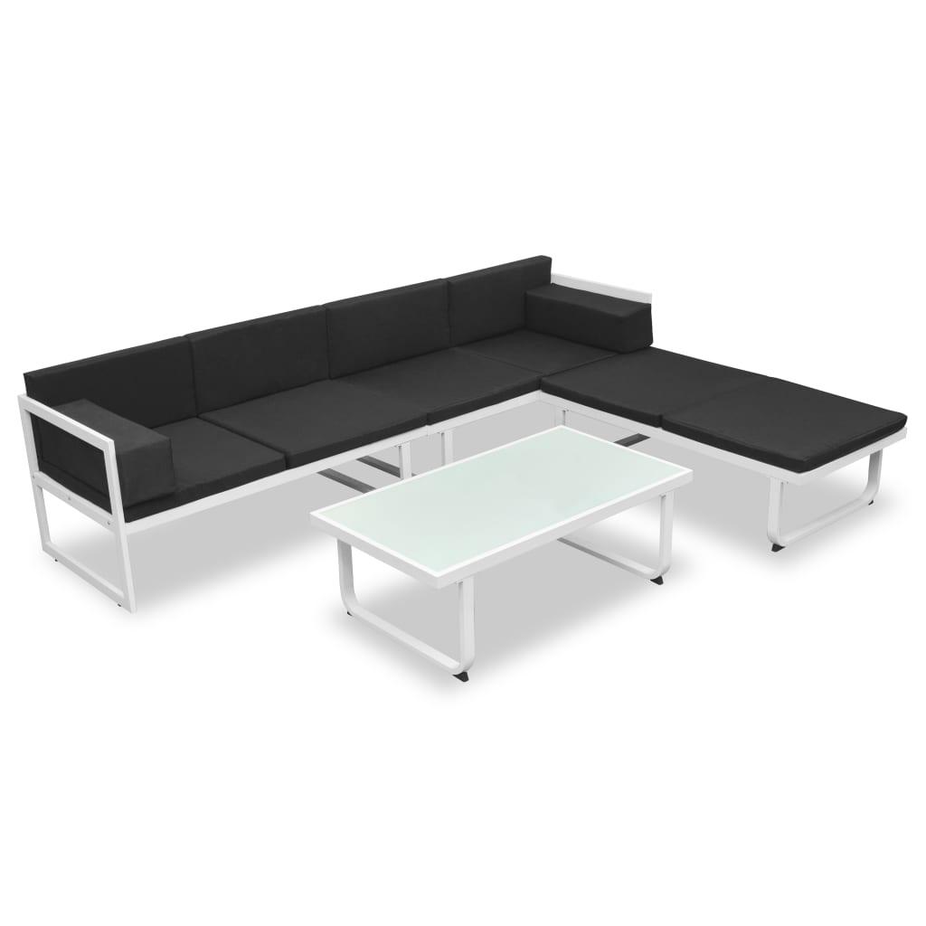 vidaXL Zestaw wypoczynkowy do ogrodu, 13 cz., aluminium, czarno-biały