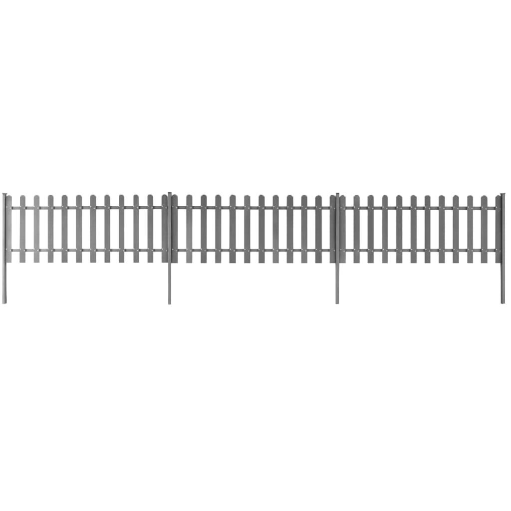 vidaXL 3 db WPC léckerítés oszlopokkal 6 m hosszú 80 cm magas szürke