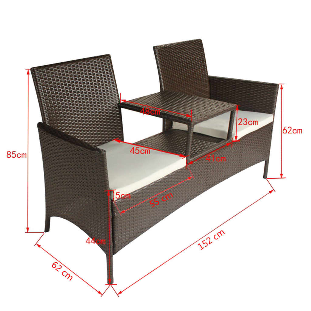 vidaxl bank mit teetisch 2 sitzer poly rattan braun gartenbank gartenm bel set ebay. Black Bedroom Furniture Sets. Home Design Ideas