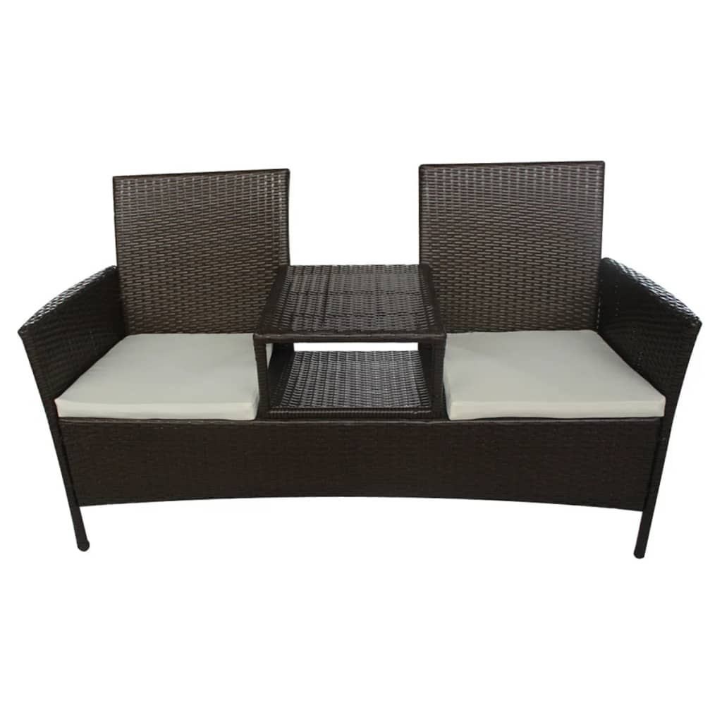 vidaxl bank mit teetisch 2 sitzer poly rattan braun. Black Bedroom Furniture Sets. Home Design Ideas