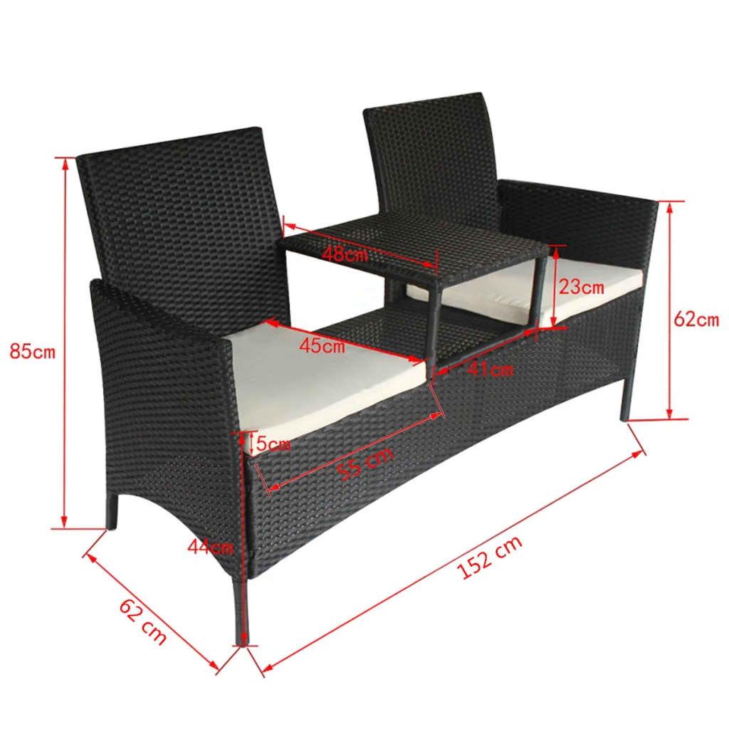 vidaXL Bank mit Teetisch 2-Sitzer Poly Rattan Schwarz Gartenbank Gartenmöbel Set  eBay
