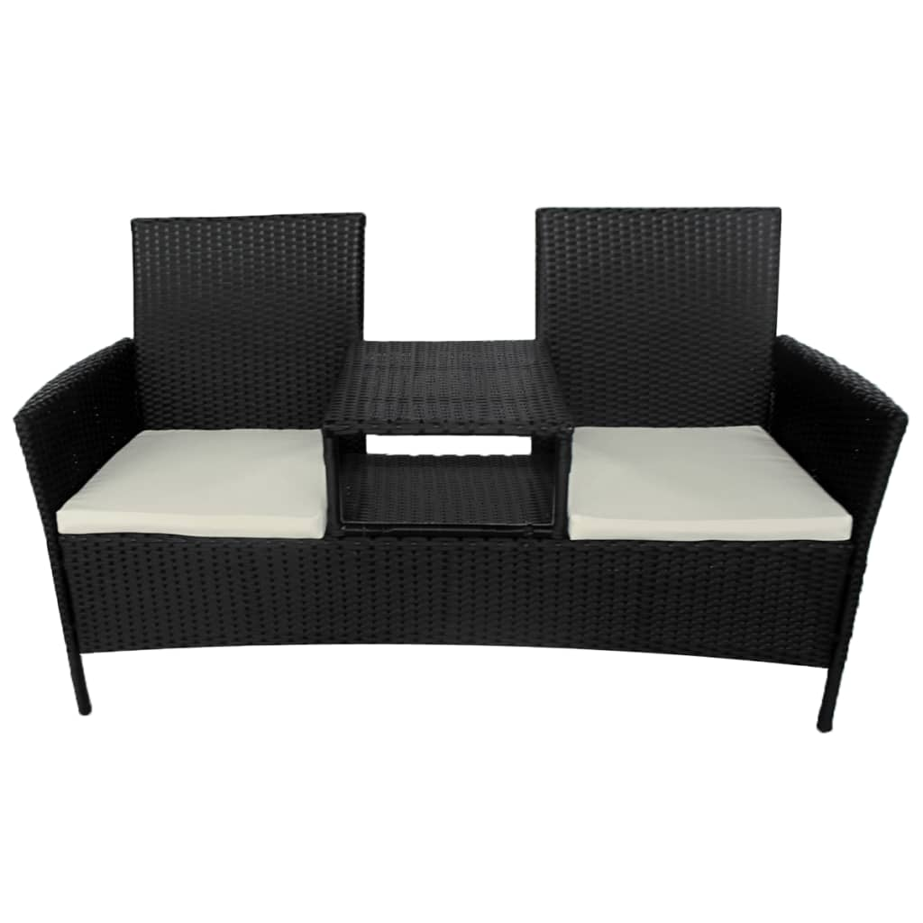 vidaxl bank mit teetisch 2 sitzer poly rattan schwarz gartenbank gartenm bel set ebay. Black Bedroom Furniture Sets. Home Design Ideas