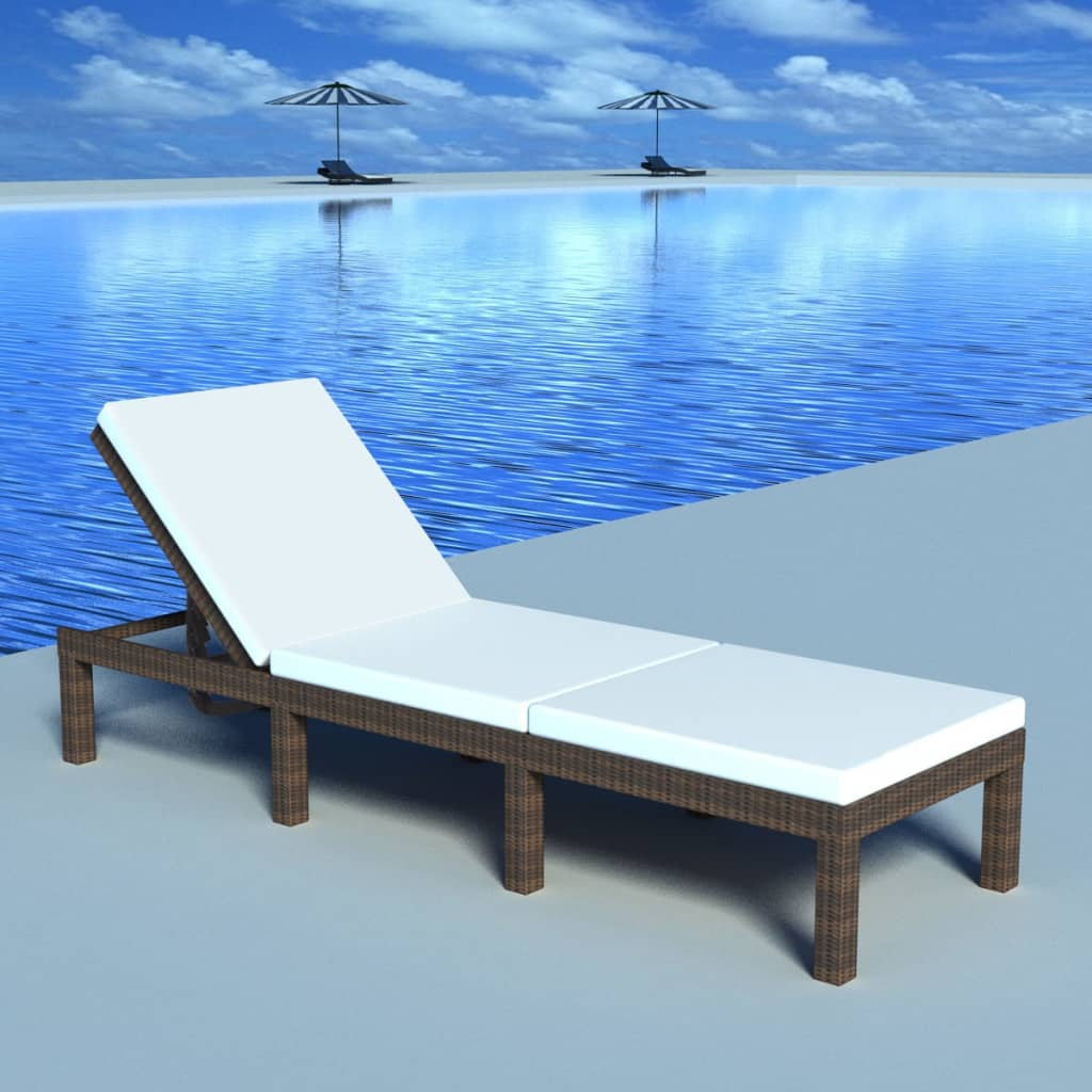 vidaxl chaise longue poly rotin marron transat bain de soleil de jardin ebay. Black Bedroom Furniture Sets. Home Design Ideas