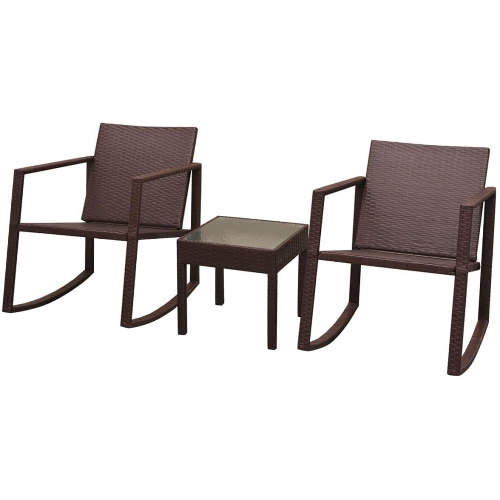 vidaXL 2 krzesła bujane i stolik, polirattan, brązowe