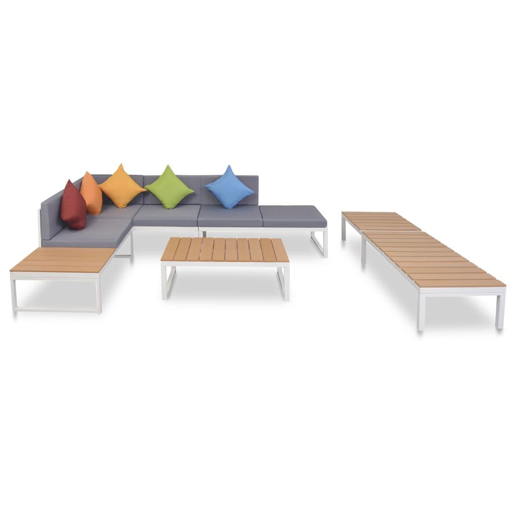 vidaXL 20-częściowy zestaw mebli ogrodowych z narożną sofą i leżakiem