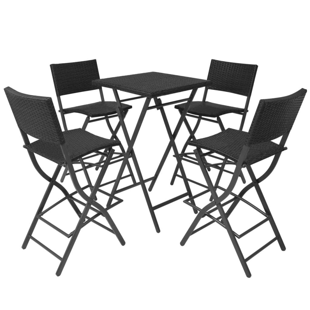 VidaXL Outdoor Dining Set 5 Pieces Poly Rattan Black