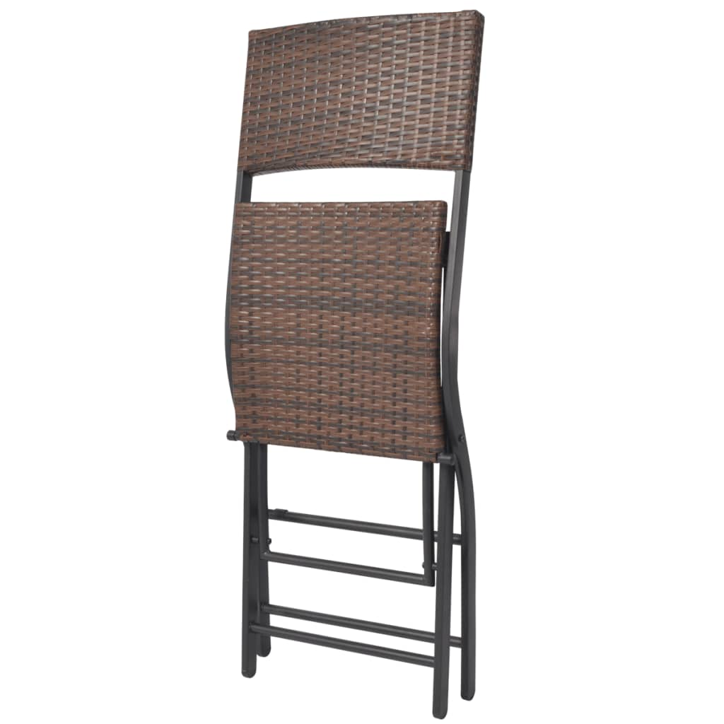 Of Set Chairs 4 Brownfoldingdining: VidaXL Outdoor Dining Set 5 Pieces Poly Rattan Brown