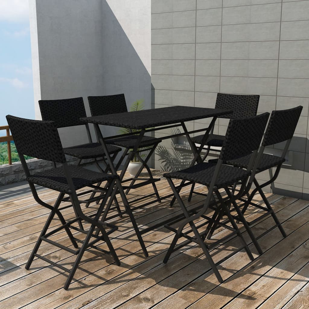 vidaxl outdoor dining set 7 pieces poly rattan black folding bar table chairs ebay. Black Bedroom Furniture Sets. Home Design Ideas