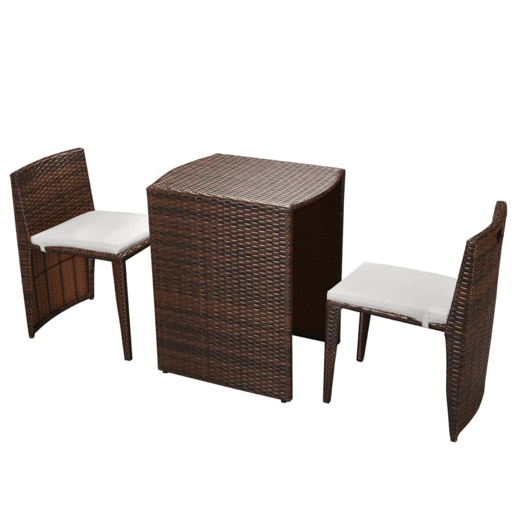 vidaxl ensemble de salle manger de balcon poly rotin. Black Bedroom Furniture Sets. Home Design Ideas