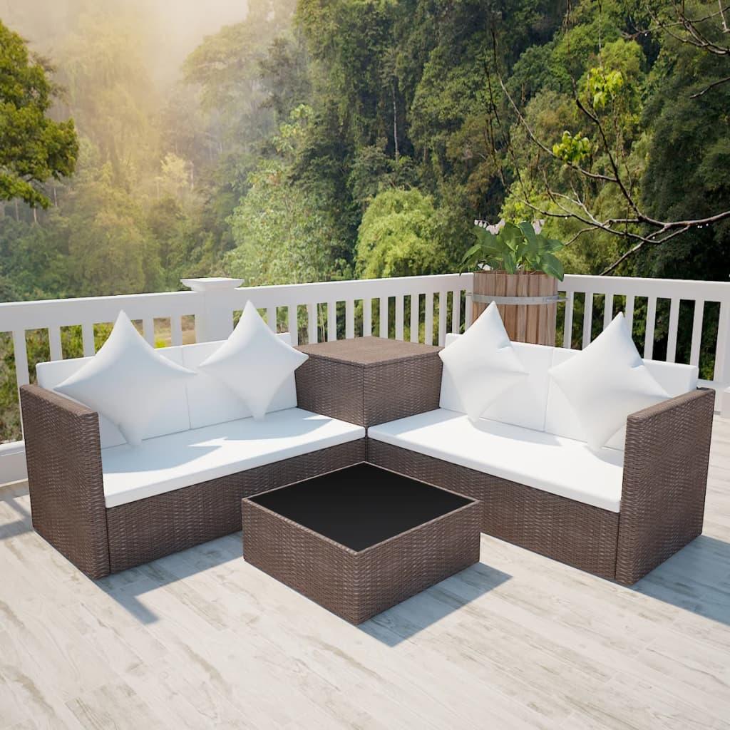 vidaXL 14 darabos barna kerti polyrattan pihenőszett