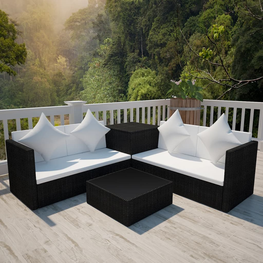 vidaXL 14 darabos fekete kerti polyrattan pihenőszett
