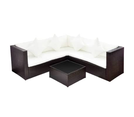 VidaXL Patio Wicker Rattan Garden Furniture Set Outdoor Sofa Lounge Couch  Brown