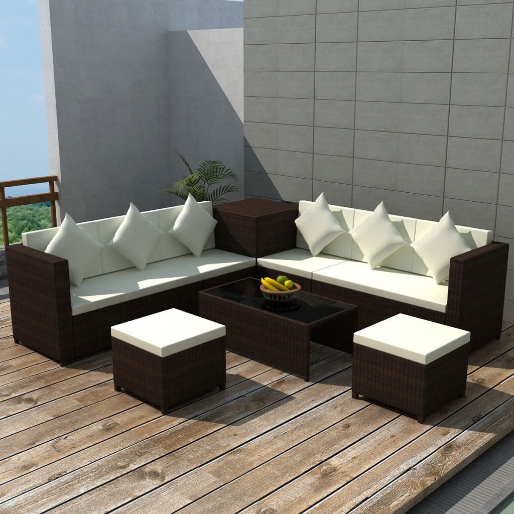 vidaxl 26pc wicker rattan garden outdoor sofa lounge furniture set brown black ebay. Black Bedroom Furniture Sets. Home Design Ideas