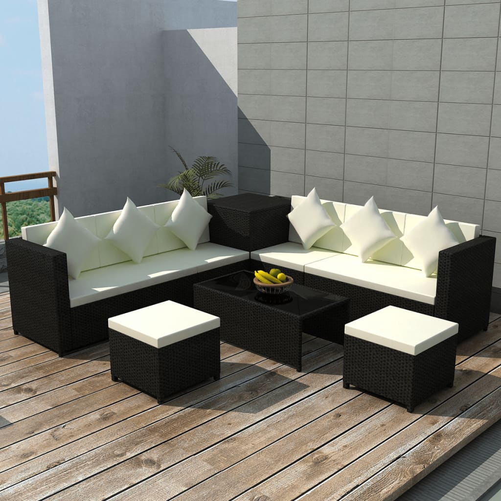 vidaxl 26pc wicker rattan garden outdoor sofa lounge furniture set brown black ebay. Black Bedroom Furniture Sets. Home Design Ideas