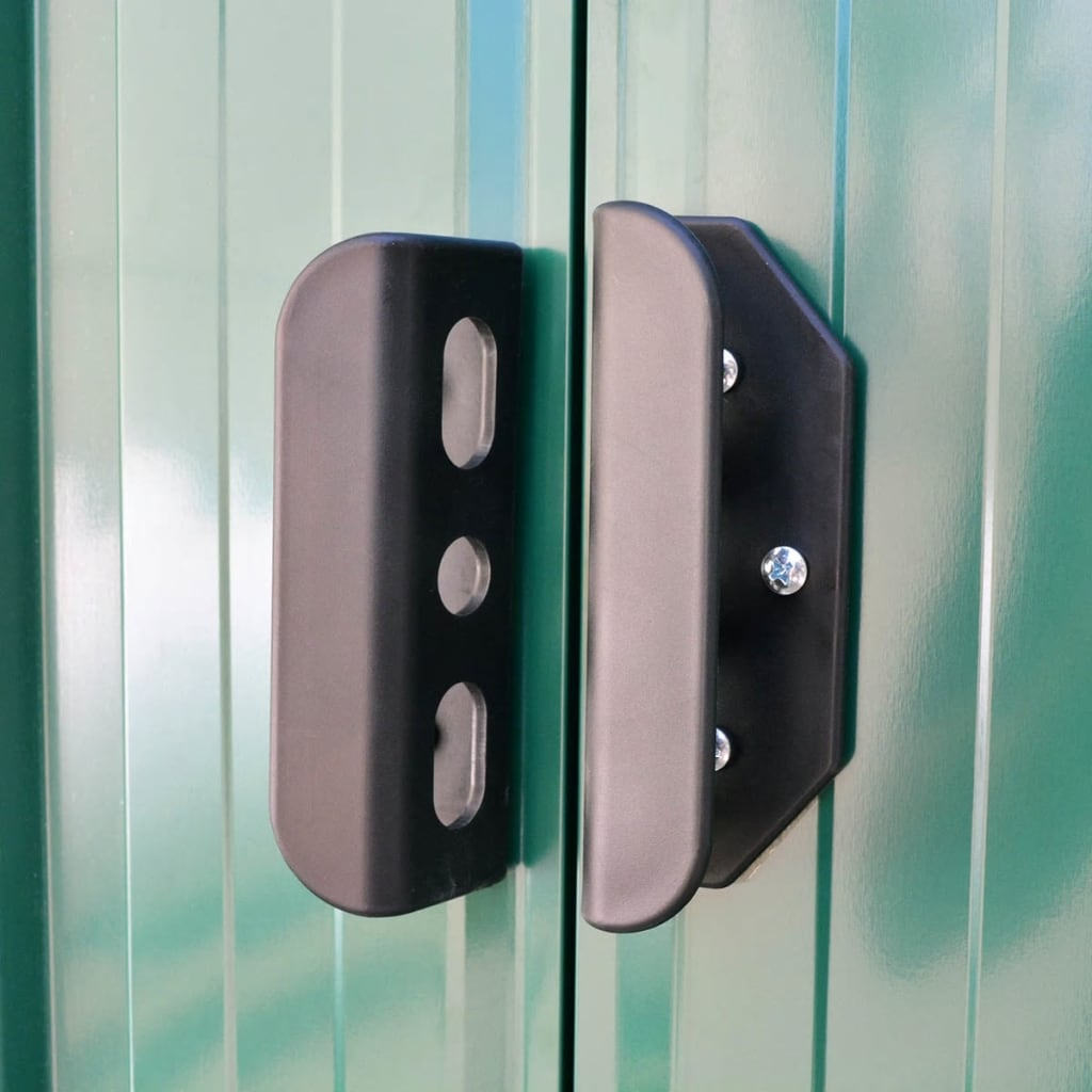 vidaxl garden storage shed green metal 257x205x178 cm. Black Bedroom Furniture Sets. Home Design Ideas