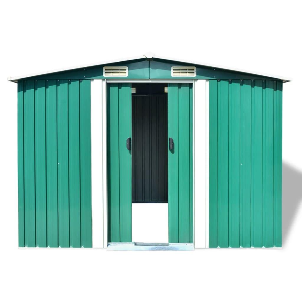 vidaxl gartenschuppen gr n metall 257 x 205 x 178 cm g nstig kaufen. Black Bedroom Furniture Sets. Home Design Ideas