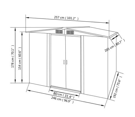 vidaxl gartenschuppen gr n metall 257 x 205 x 178 cm im. Black Bedroom Furniture Sets. Home Design Ideas