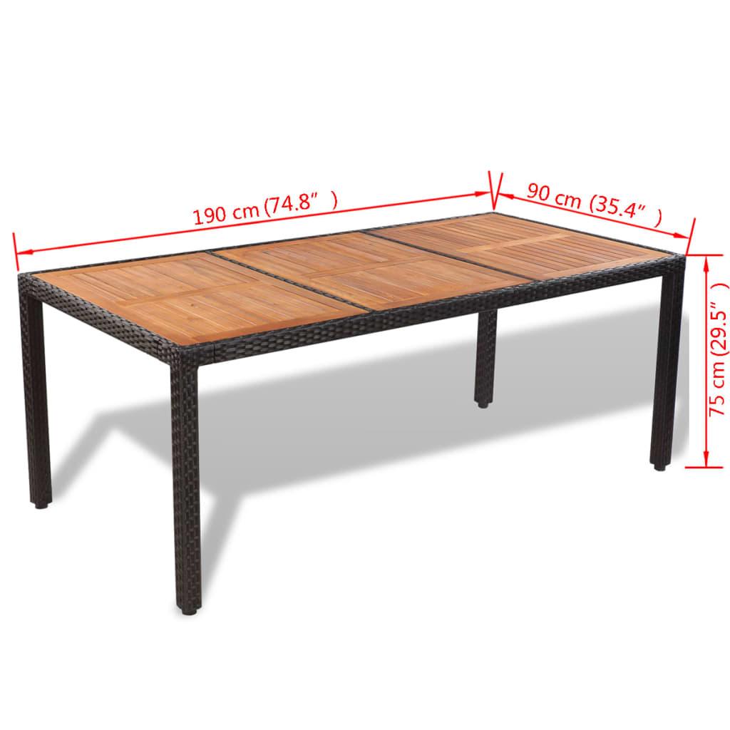 Acheter vidaxl mobilier de jardin 9 pcs r sine tress e for Table exterieur acacia