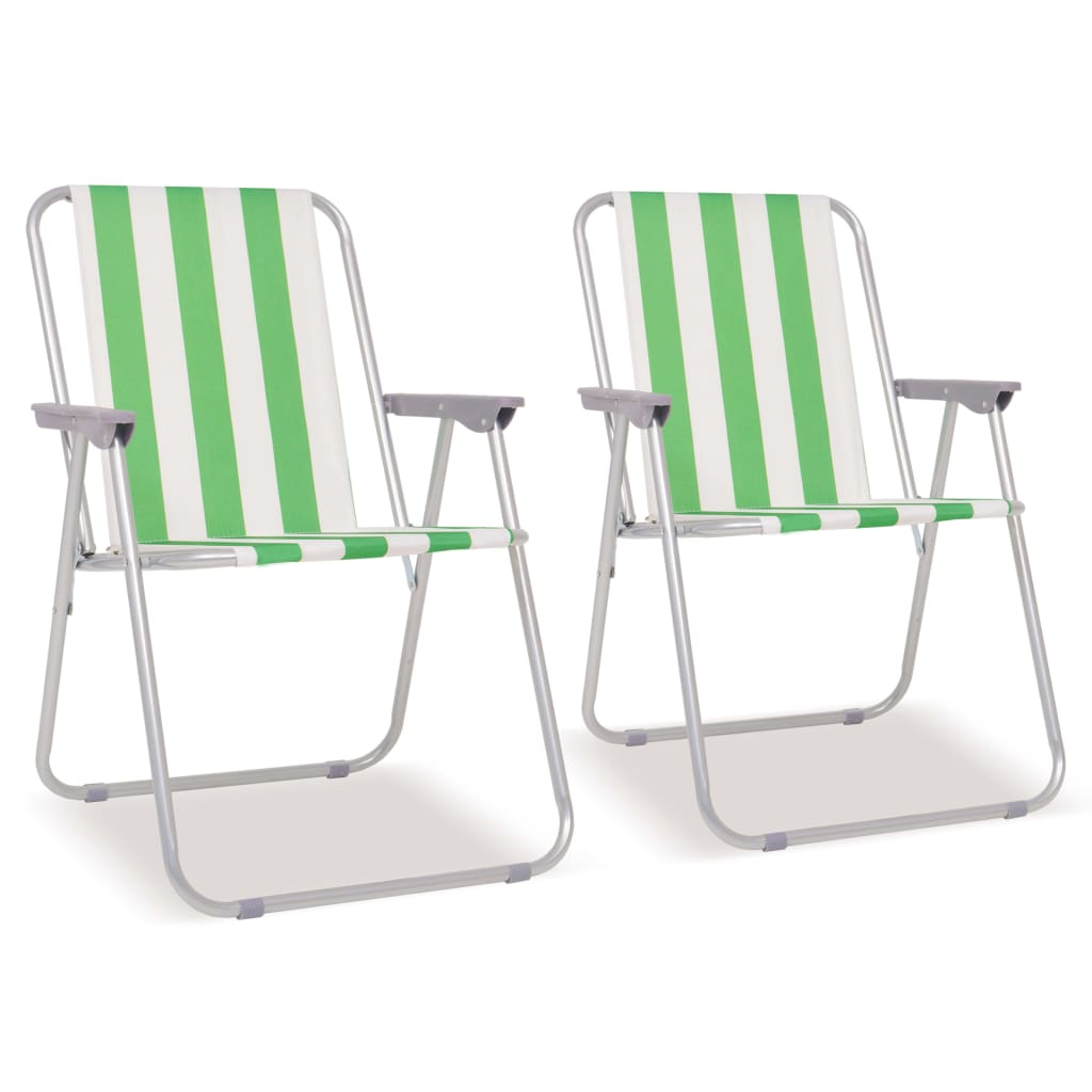 vidaXL Campingstoelen inklapbaar 52x62x75 cm staal groen en wit 2 st