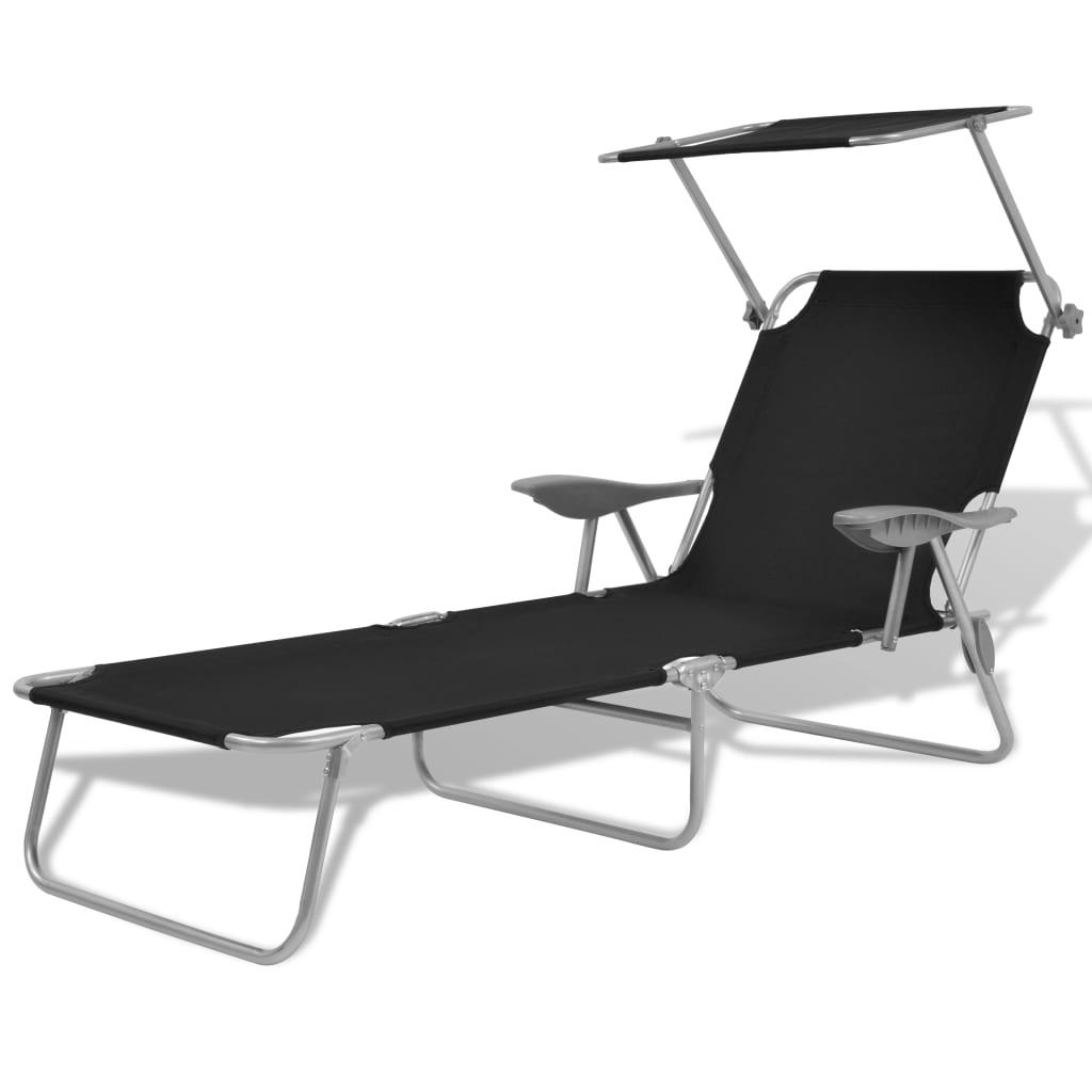 vidaxl sonnenliege gartenliege liege mit sonnendach schwarz stahl 58x189x27 cm ebay. Black Bedroom Furniture Sets. Home Design Ideas