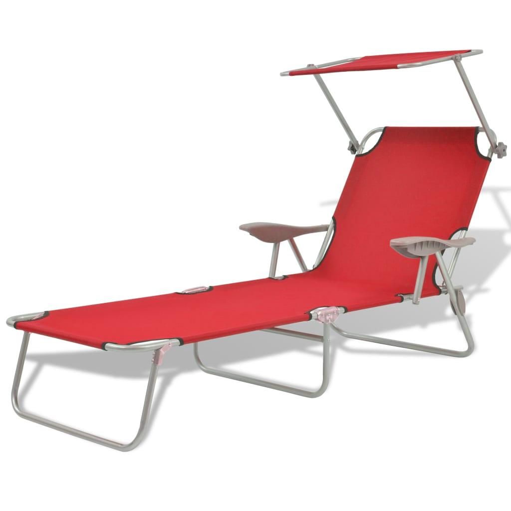 vidaxl sonnenliege gartenliege liege mit sonnendach rot. Black Bedroom Furniture Sets. Home Design Ideas