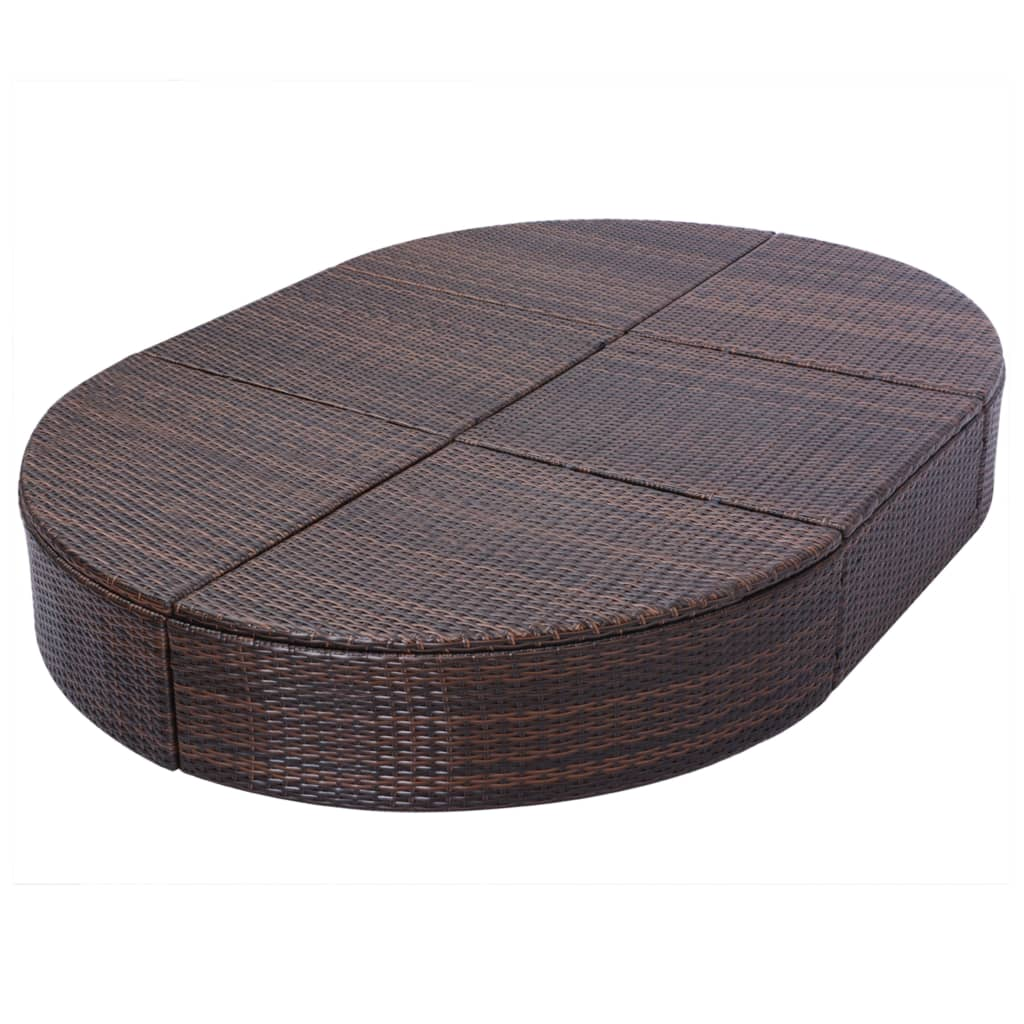vidaxl sonnenliege poly rattan 200x140x28 cm braun gartenliege liegestuhl liege ebay. Black Bedroom Furniture Sets. Home Design Ideas