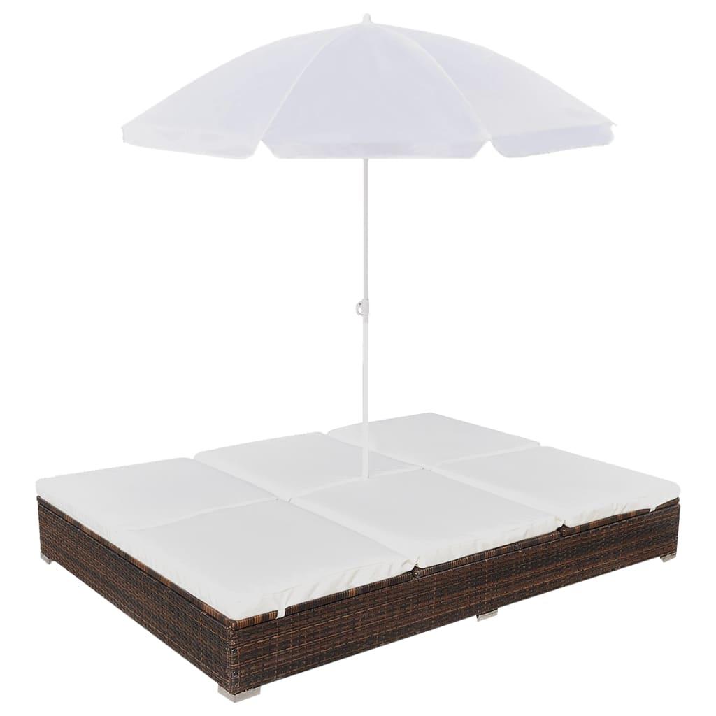 1 sur 11livraison gratuite vidaxl chaise longue avec parasol poly rotin marron lit de jardin extrieur - Lit De Jardin