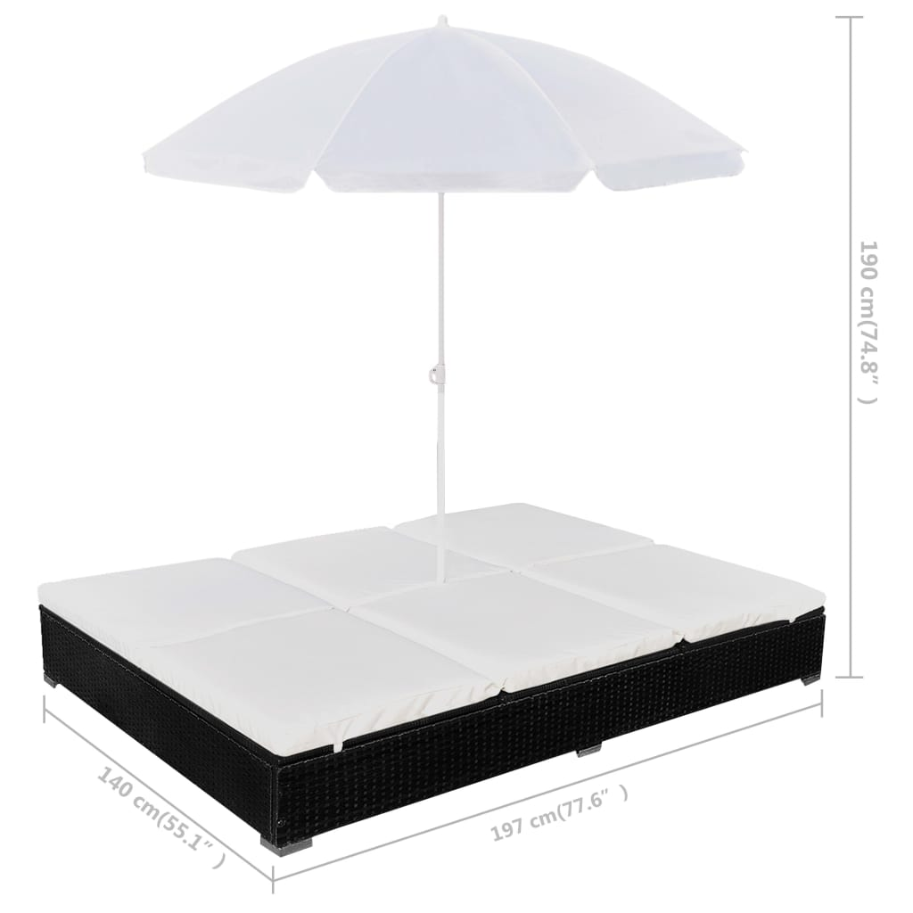 vidaxl sonnenliege poly rattan schwarz gartenliege liegestuhl liege mit schirm ebay. Black Bedroom Furniture Sets. Home Design Ideas