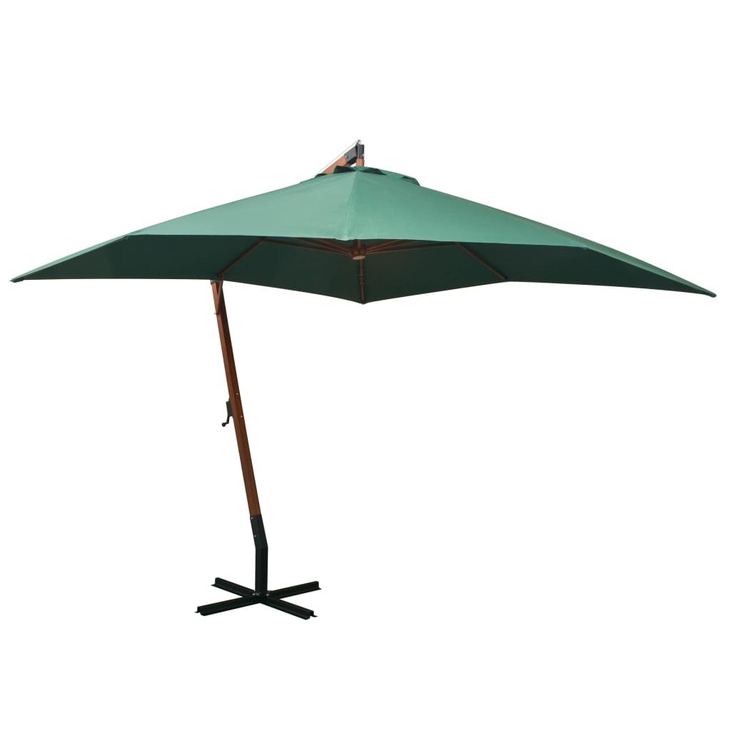 vidaXL zöld lógó napernyő fa rúddal 300 x cm