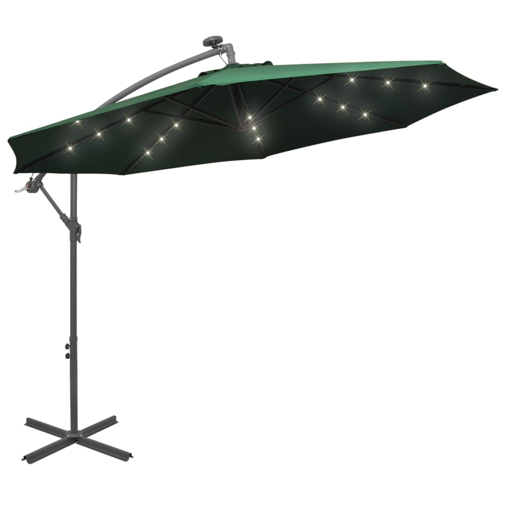 vidaXL zöld függőernyő LED-del, fém rúddal 300 cm