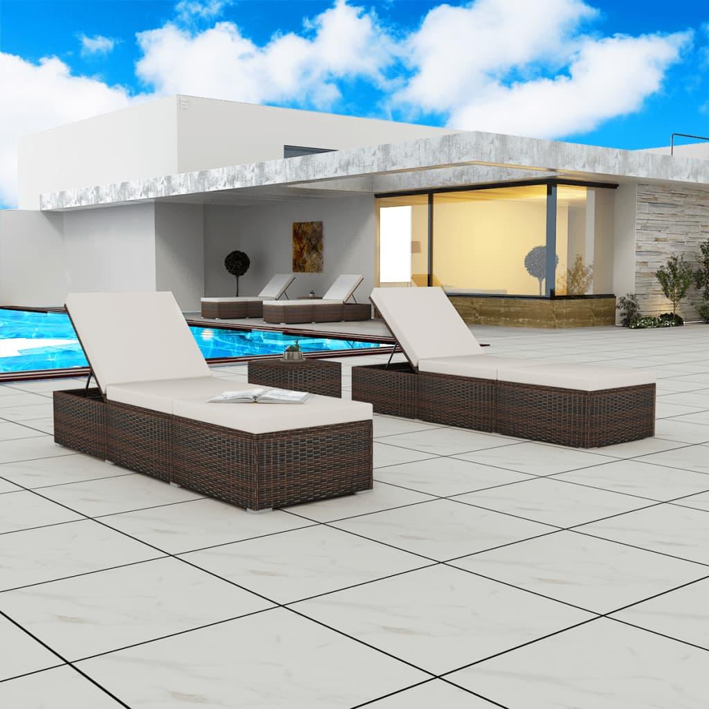 vidaXL 2x Sonnenliege mit Tisch Poly Rattan Gartenliege Pool Liege ...