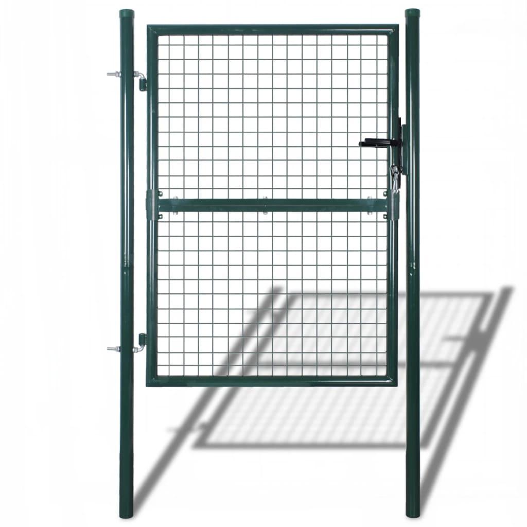 vidaXL zöld kerti acél kerítés kapu 85,5 x 200 cm / 100 250