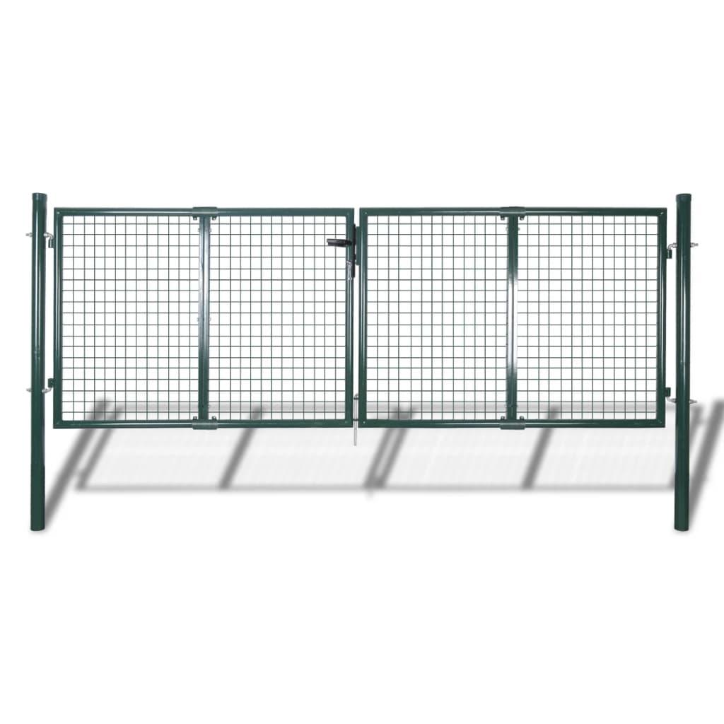 vidaXL zöld kerti acél kerítés kapu 289 x 125 cm / 306 175