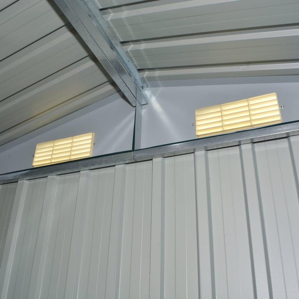 Vidaxl caseta de jard n de metal 204x132x186 cm gris - Caseta de metal ...