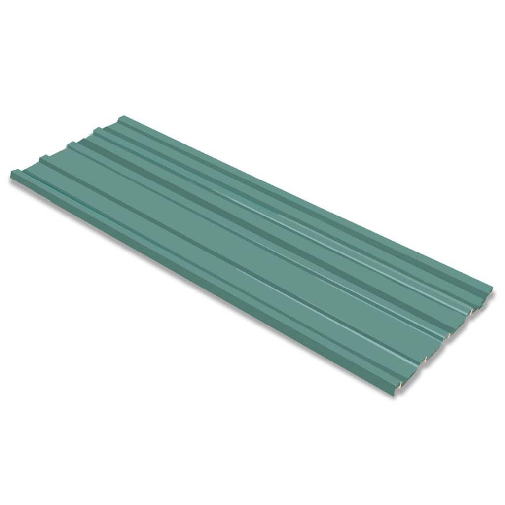 vidaXL 12 db horganyzott acél tetőpanel zöld