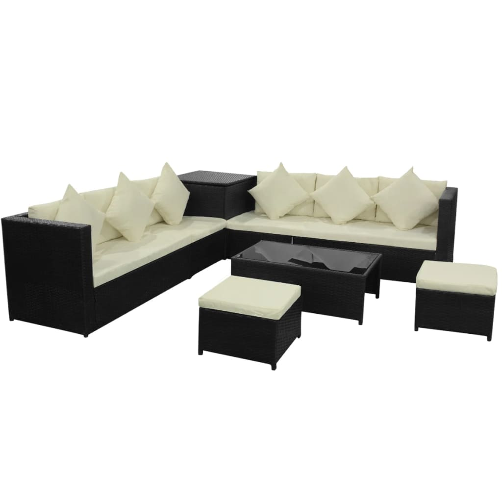 vidaXL-Garden-Sofa-Set-26-Pieces-Poly-Rattan-Black-Outdoor-Patio-Couch-Lounge thumbnail 2