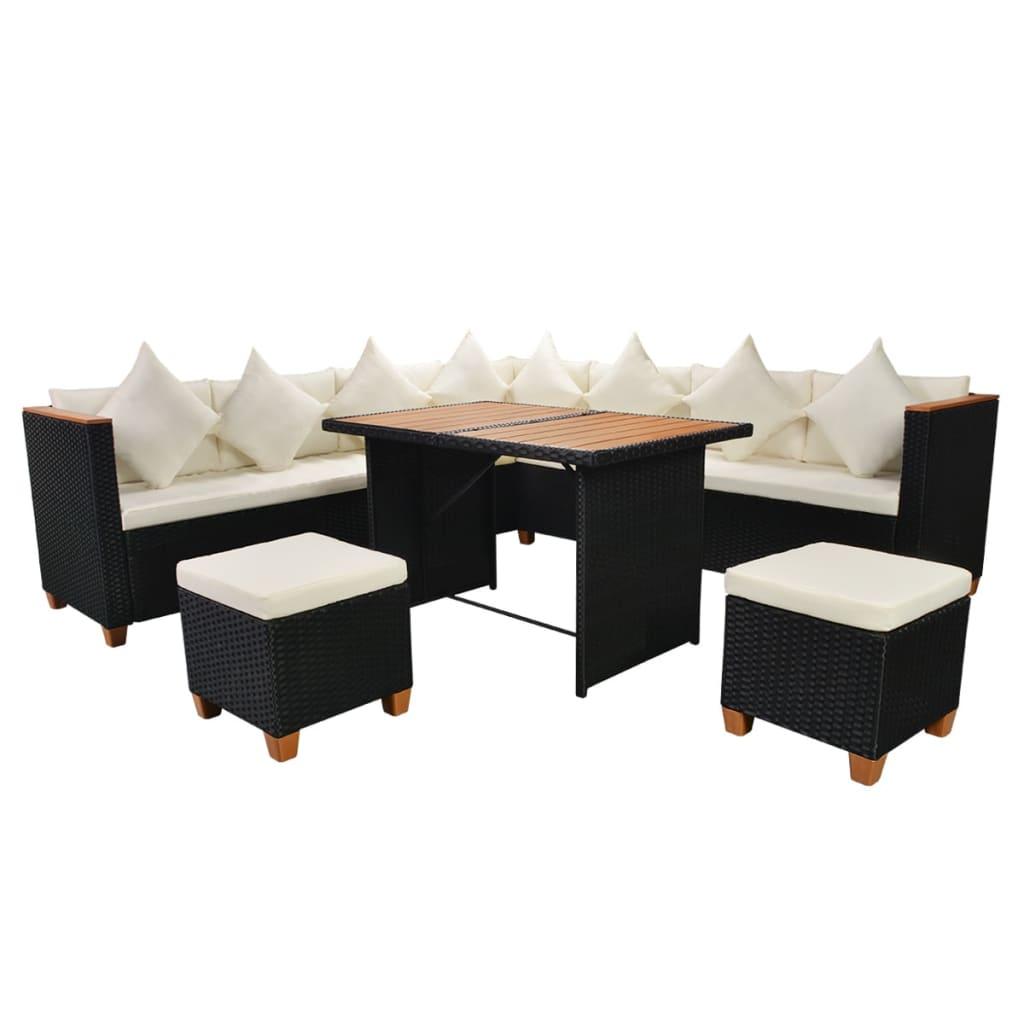 VIDAXL ESSGRUPPE 29-tlg Loungeset Gartenmöbel Sitzgruppe Poly Rattan ...