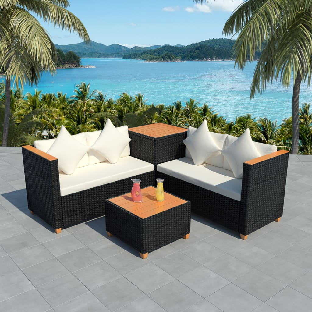 Vidaxl Garden Sofa Set 14 Pieces Wicker Poly Rattan Black Wpc