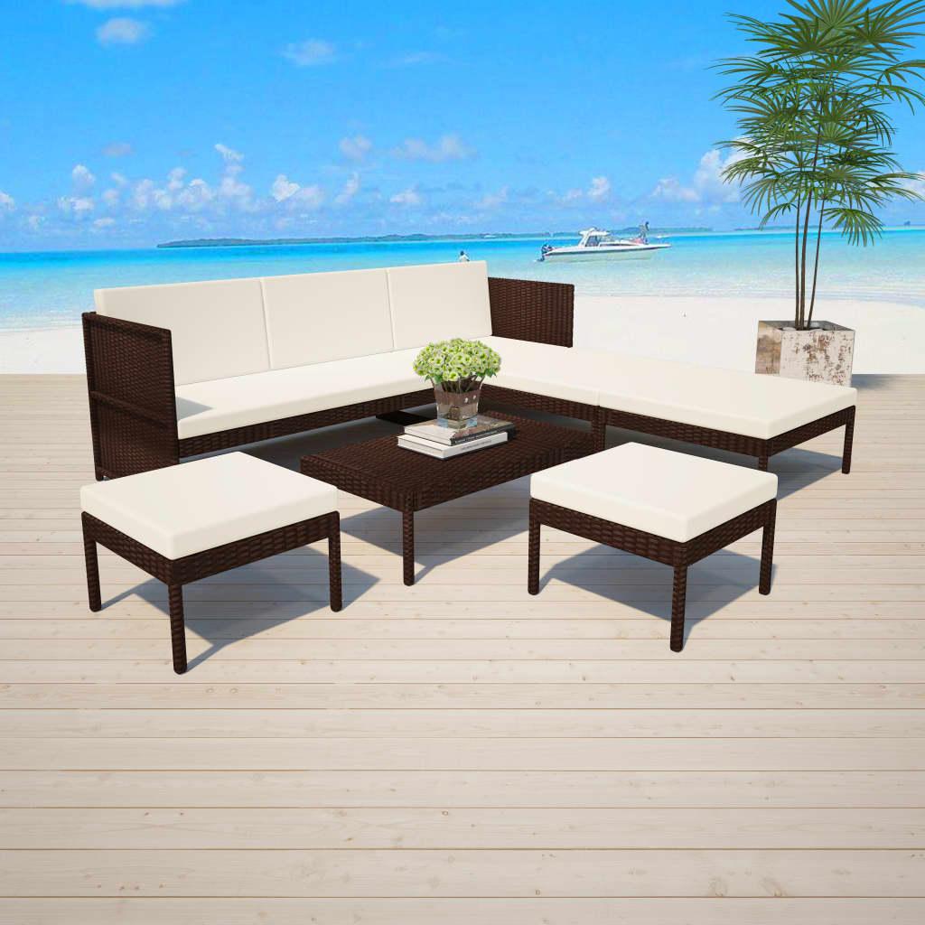 Garden Furniture - vidaXL Outdoor Sofa Set 15 Piece Poly Rattan Wicker Brown Garden Furniture Set