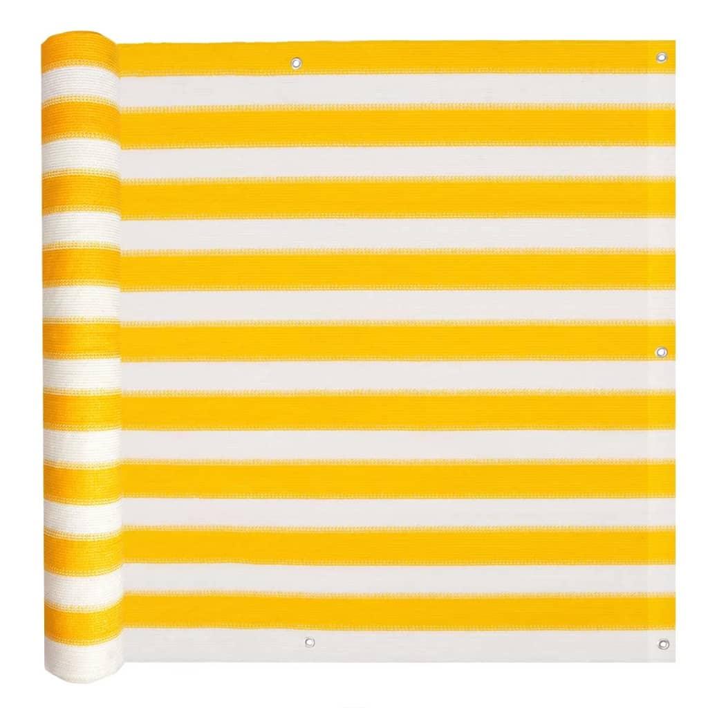 vidaXL sárga és fehér HDPE erkély napellenző 75 x 400 cm