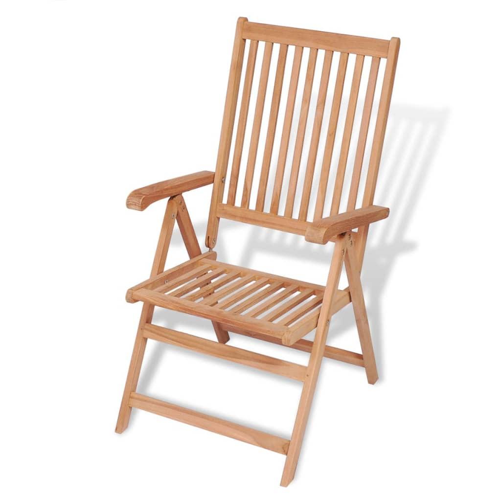 vidaXL dönthető háttámlás tíkfa kerti szék