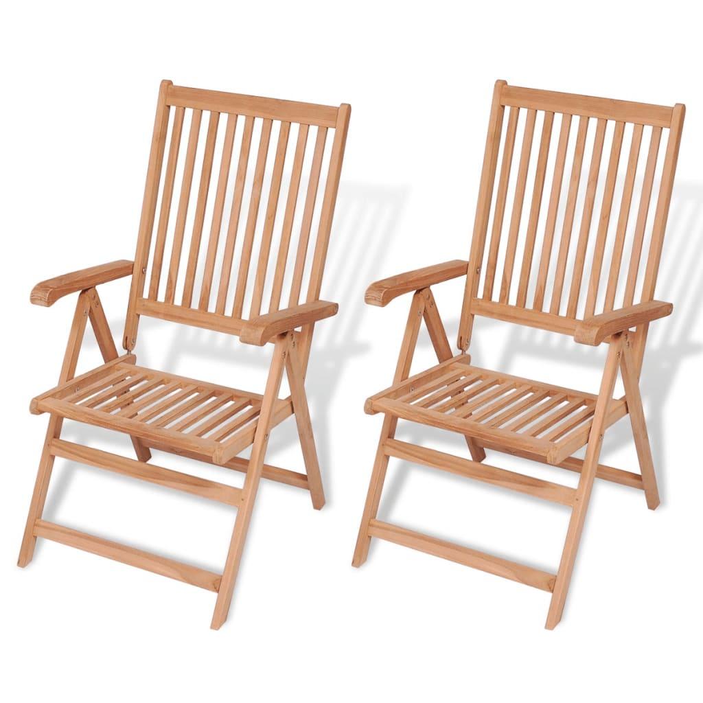 vidaXL 2 db dönthető háttámlás tíkfa kerti szék