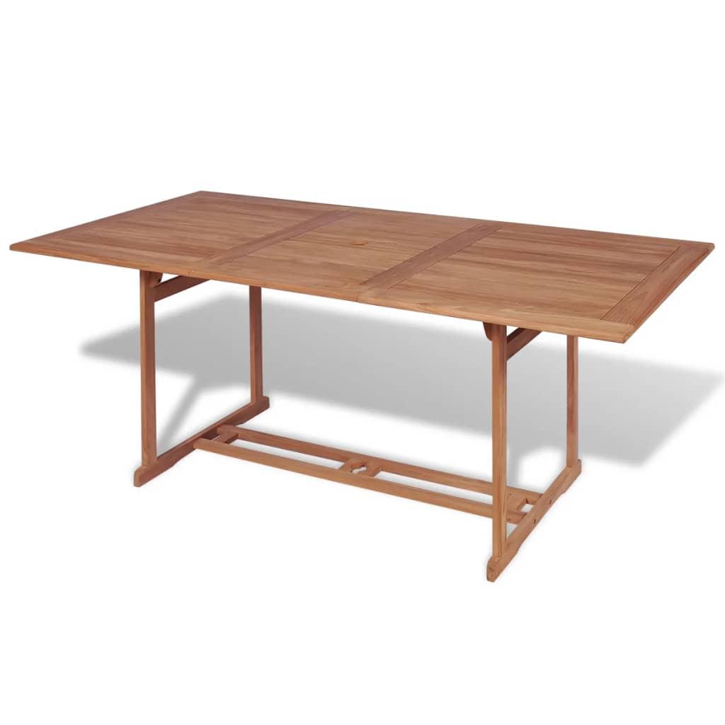 vidaXL kültéri téglalap alakú tíkfa étkezőasztal 180 x 90 75 cm