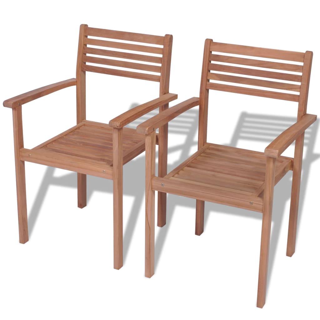 vidaXL 2 db kültéri rakásolható tíkfa szék