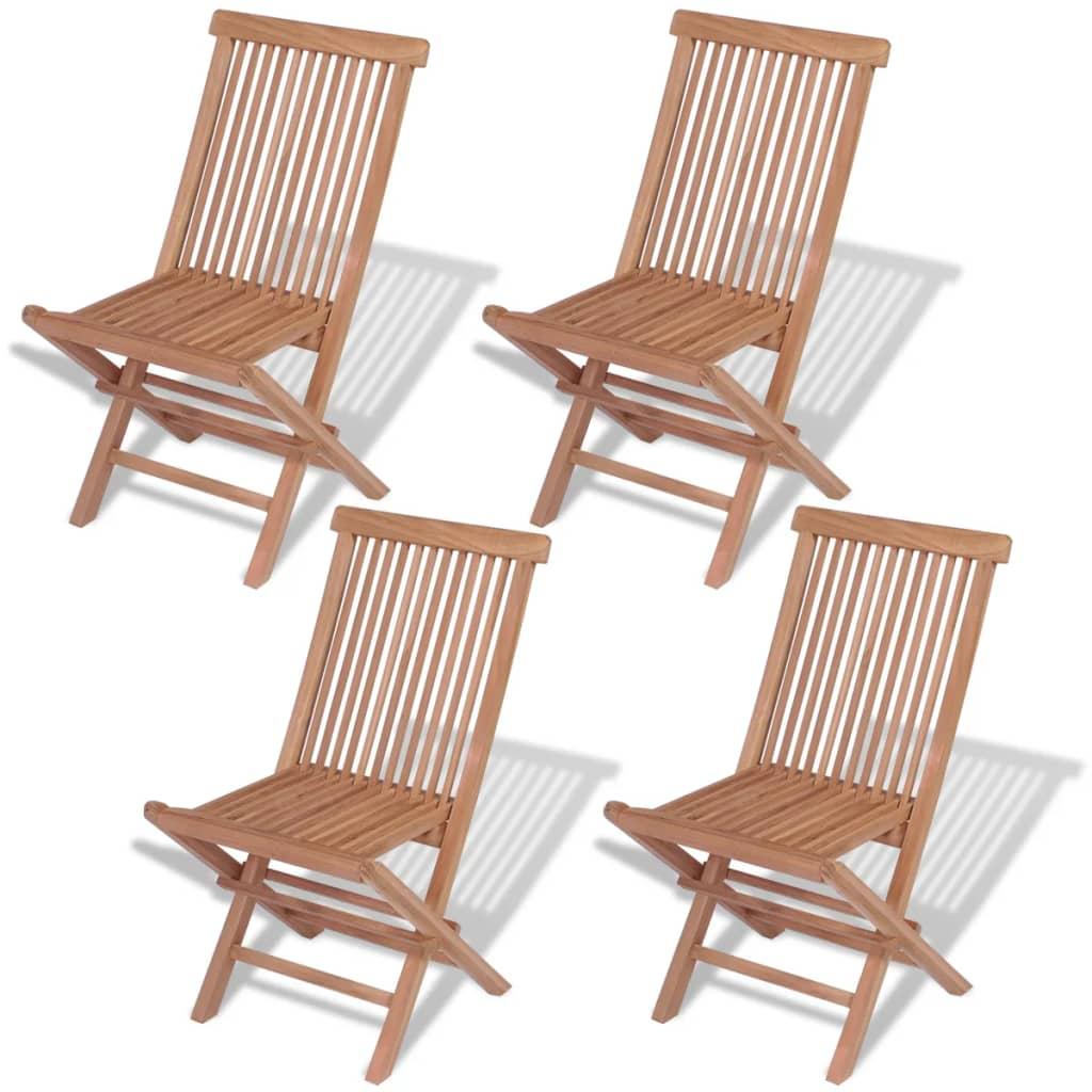 vidaXL 4 db összecsukható tömör tíkfa szék