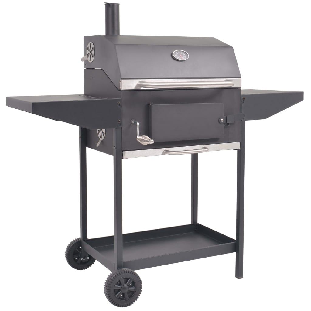 vidaXL Houtskoolbarbecue met onderplank zwart