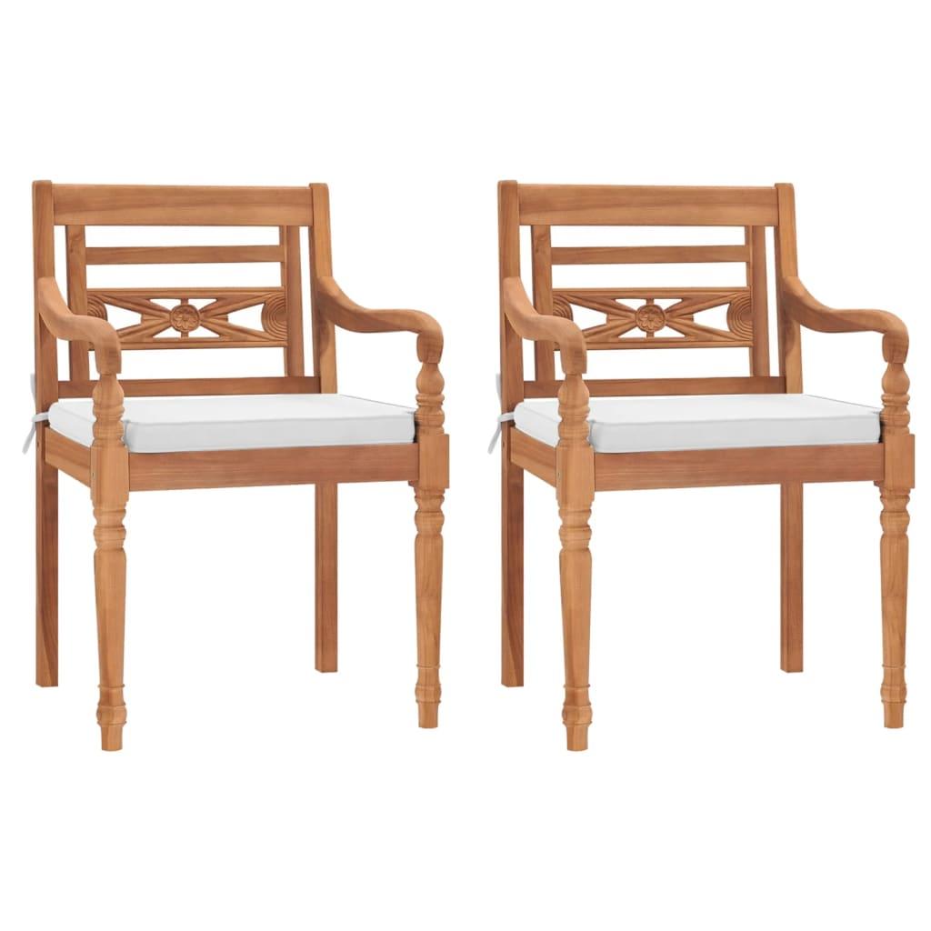 vidaXL 2 db tíkfa Batavia kerti szék 55 x 51,5 84 cm