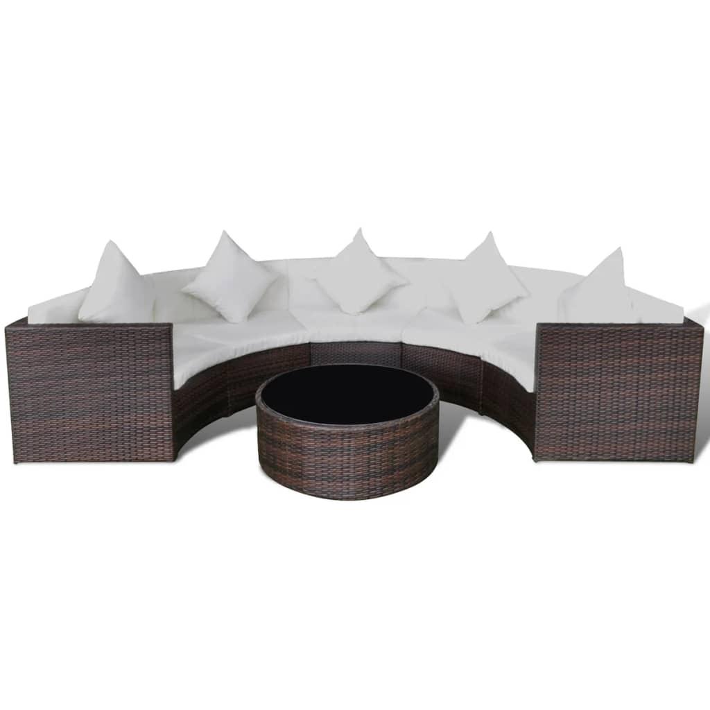 vidaXL Zestaw z półokrągłą sofą do ogrodu, 17 części, polirattan, brąz