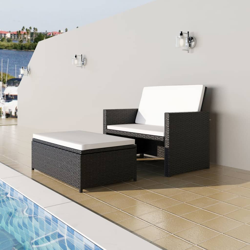 vidaxl jeu de canap de jardin salon de jardin 5 pcs rotin synth tique noir ebay. Black Bedroom Furniture Sets. Home Design Ideas
