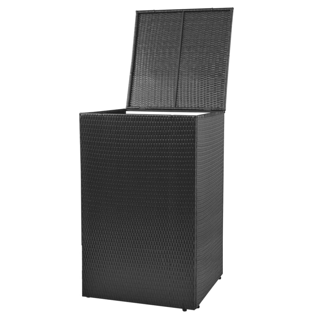 vidaxl m lltonnenbox f r 1 tonne poly rattan schwarz m lltonnenabdeckung m llbox ebay. Black Bedroom Furniture Sets. Home Design Ideas